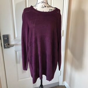Croft & Barrow Deep Purple Thin Knit Sweater